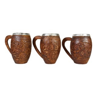 Authentic Hand Carved Solid Wood Sheesham Style Tankard Mugs - Set of 3 For Sale