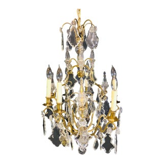 French Bronze and Crystal Gilt Chandelier, Louis XVI Style For Sale