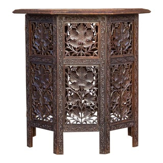 Graceful 19th Century Anglo-Indian Brass Inlay Carved Table For Sale