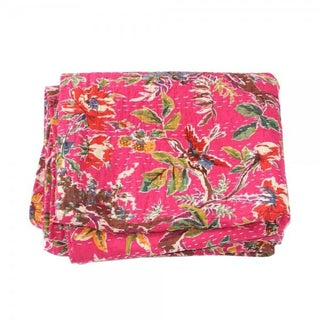 Pink Floral Kantha Throw - Queen For Sale