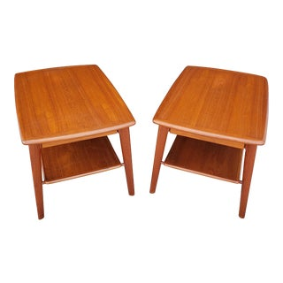 Vintage 1960's Svend Madsen Falster Mobelfabrik Teak Side Tables - a Pair For Sale