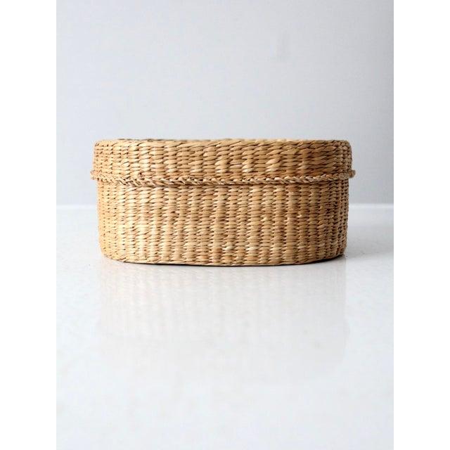 Tan Vintage Sweetgrass Basket For Sale - Image 8 of 9