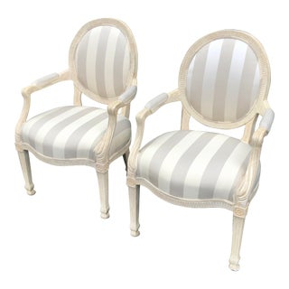 J. Robert Scott Louis XVI Style French Fauteuil Arm Chairs - a Pair For Sale