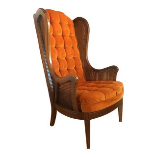 1960's Mid-Century Modern Lewittes Tufted Velvet Cane Wingback Chair For Sale