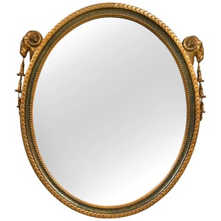 French Neoclassical Style Oval Mirror For Sale