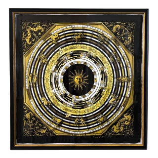 Vintage Hermès Astrologie Dies Et Hors Black Pocket Square Art, Framed For Sale