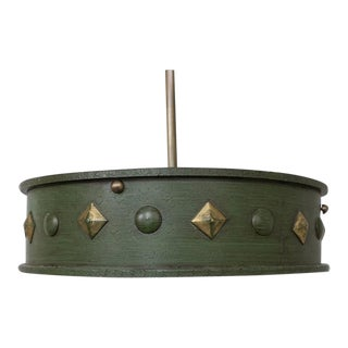 Green Patinated Suspended Ceiling Fixture
