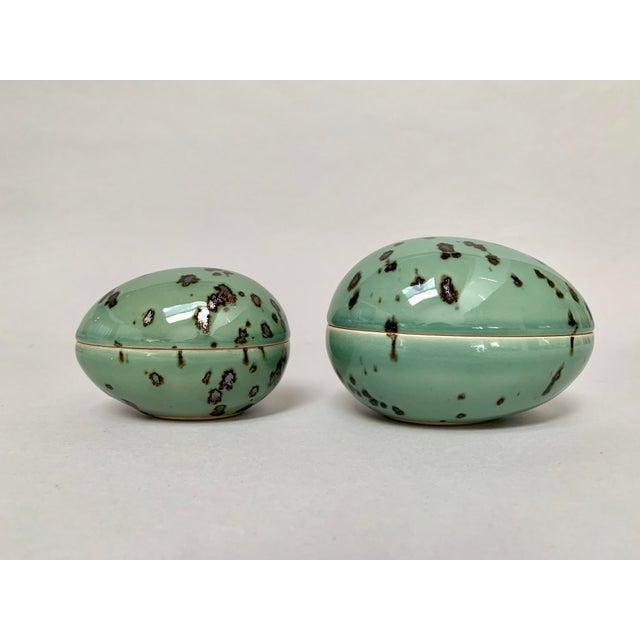 1970s Danish Modern Dansk Large and Medium Jade Green Stoneware Egg Boxes - Set of 2 For Sale - Image 13 of 13