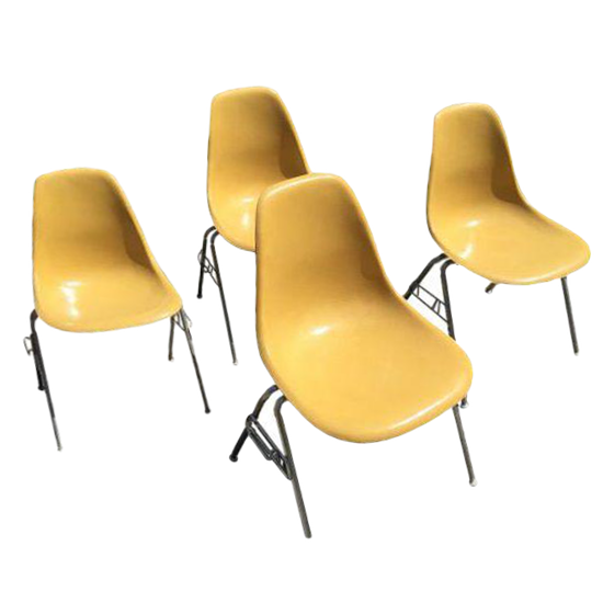 Vintage Eames Yellow Shell Chairs   Set Of 4