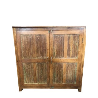 Antique Rustic Farmhouse Hand Carved Armoire For Sale