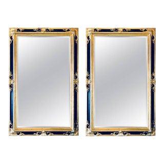 Italian Gilt & Ebony Beveled Console or Wall Mirrors - A Pair