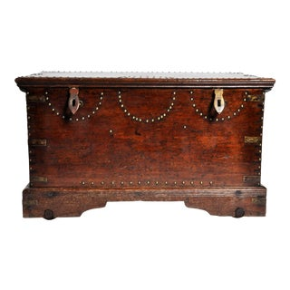 British Colonial Trunk with Nail Head Decoration For Sale