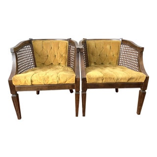 Vintage Mid-Century Velvet Tufted Cane Barrel Chairs- a Pair For Sale