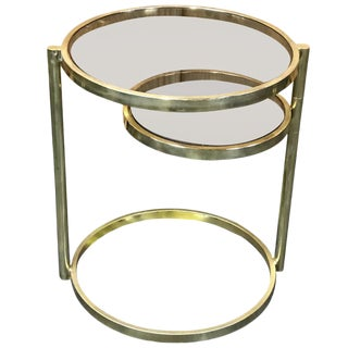 Milo Baughman Style Gilt Side Table with Swing Out Lower Shelf