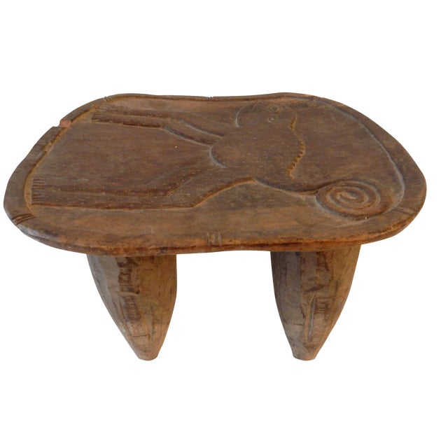 Low Milk Senufo Stool W/Chameleon For Sale