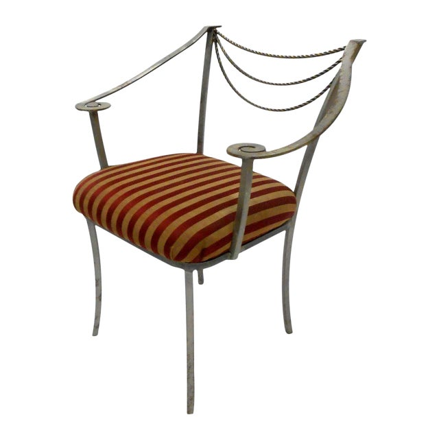 Neoclassical Inspired Metal Armchair - Image 1 of 8