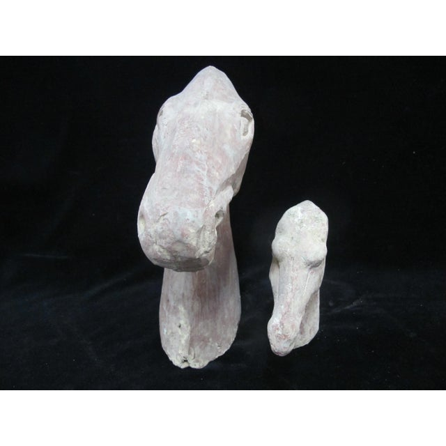 Asian Primitive Chinese Burial Horse Head Clay Tomb Sculpture - Set of 2 For Sale - Image 3 of 9