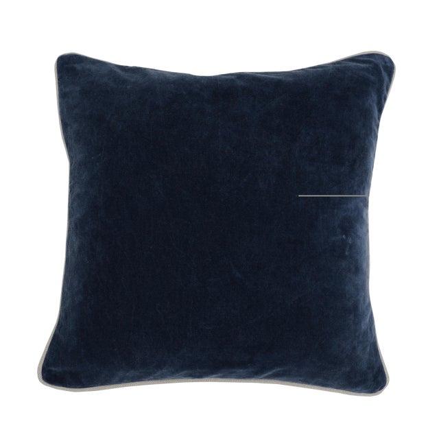 Contemporary Classic Home Blue Velvet Pillow For Sale