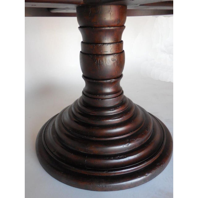 1920s Custom Oval Beehive Pedestal Dining Table in Walnut Wood For Sale - Image 5 of 7