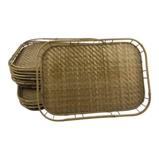 Bamboo Wicker Tiki Serving Trays - Set of 10 For Sale