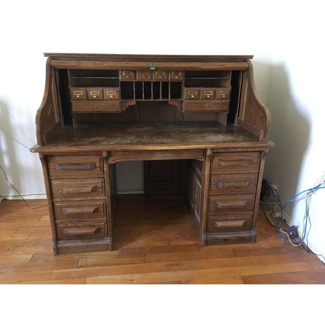 Brown Vintage Jefferson Rolltop Desk For Sale - Image 8 of 10
