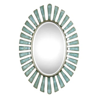 Aqua Oval Wall Mirror For Sale