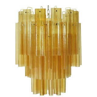 1960s Amber Murano Venini Tubes Tiered Chandelier For Sale