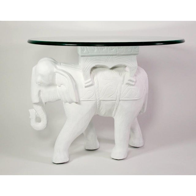 1970s 1970s Hollywood Regency White Gesso Solid Teak Elephant Side Table For Sale - Image 5 of 9
