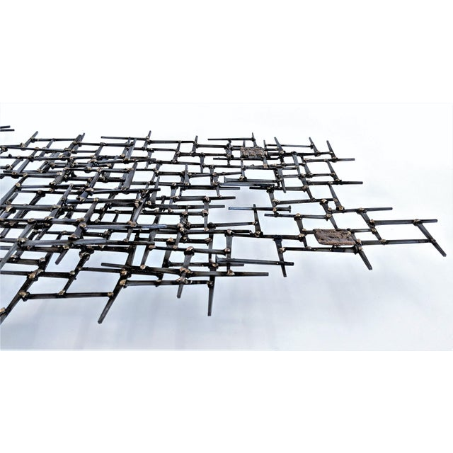Abstract Nail & Bronze Wall Jere Style Sculpture For Sale In Miami - Image 6 of 12