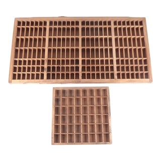 Antique American Type Founders Inc. Wooden Typeset Trays- Set of 2 For Sale
