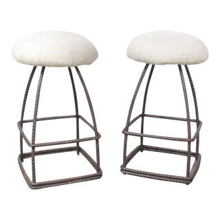 Pair of Custom Made Wrought Iron Swivel Stools For Sale