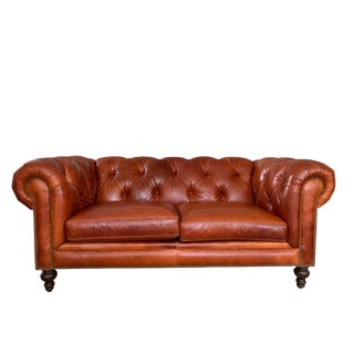 Brand New Leather Chesterfield Loveseat Sofa For Sale