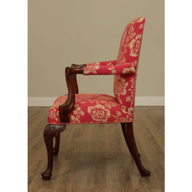 Georgian Style Custom Quality Carved Mahogany & Upholstered Set 10 Dining Chairs For Sale In Philadelphia - Image 6 of 13
