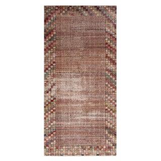 "1950s Vintage Mid-Century Geometric Wool Rug-4'7'x9'5"" For Sale"