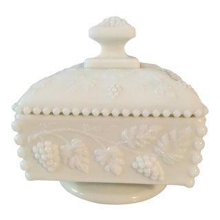 1960s Cottage Milk Glass Candy Dish For Sale