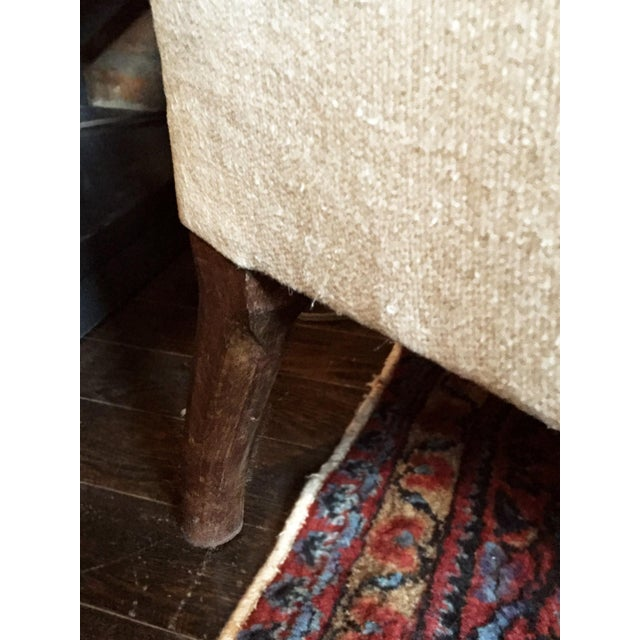 1940s Danish Chaise Lounge in Belgian Linen For Sale - Image 11 of 13