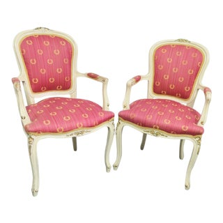 Vintage Louis XV Style Cream & Gold Chairs- a Pair For Sale