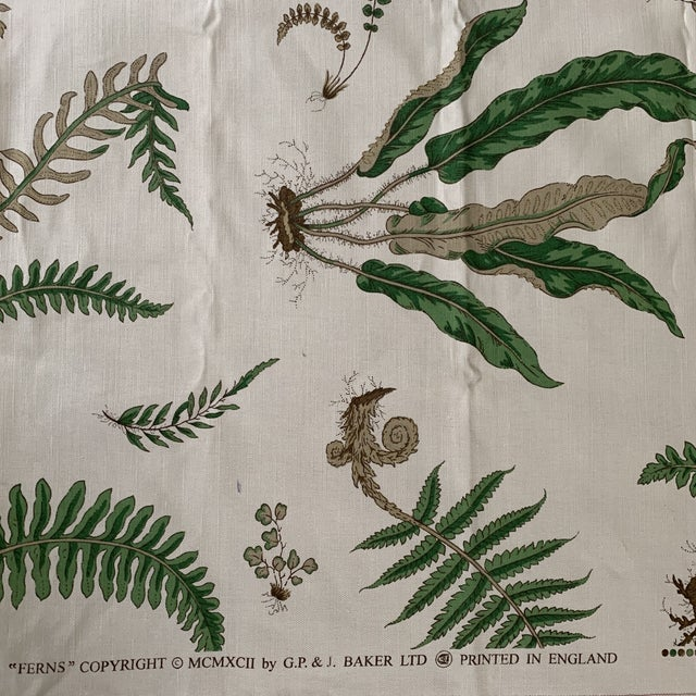 "Contemporary G. P. & J. Baker ""Ferns"" Fabric- 1 1/4 Yards For Sale - Image 3 of 8"