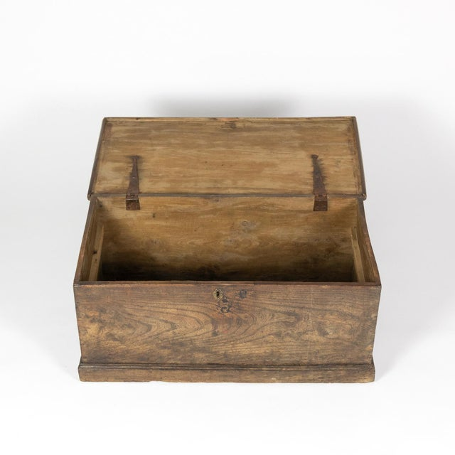 Iron Rustic Chestnut Trunk With Over-Scale Iron Hinges, English Circa 1860. For Sale - Image 7 of 13