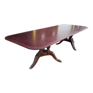 Banded Mahogany Chippendale Style 10' X 4' Bernhardt Double Pedestal Conference Table C1990s For Sale