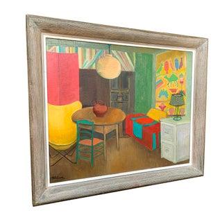Vintage Folk Art Modern Decor Oil Painting 24x28 Preview