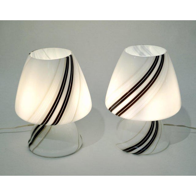 Italian 1970s Italian White Lamps With Black Gray Murrine Attributed to Vistosi - a Pair For Sale - Image 3 of 8