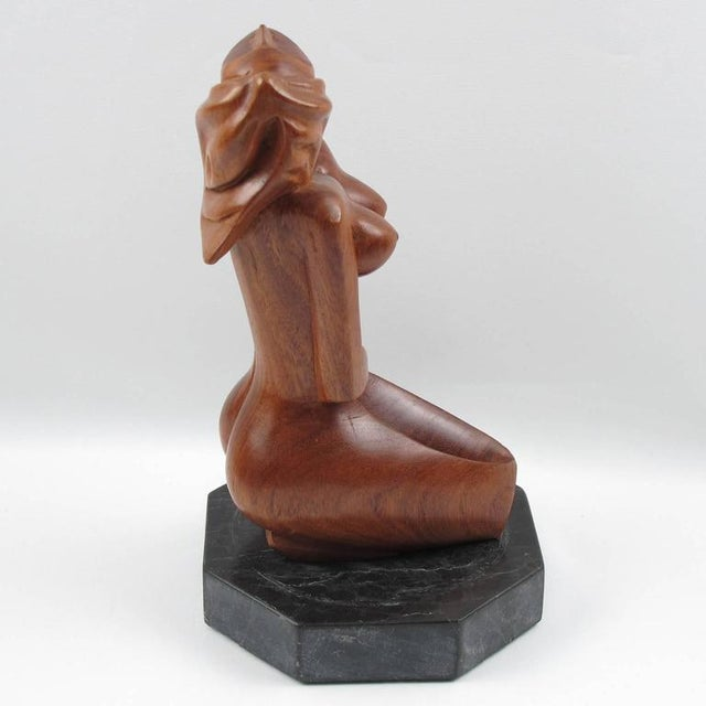 Mid-Century Cubist Carved Mahogany Woman Sculpture For Sale - Image 4 of 11