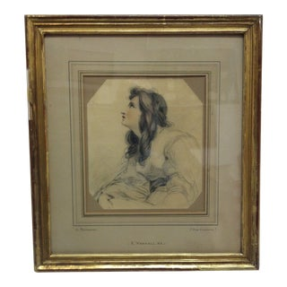 """Antique Pencil Drawing, Framed & Matted - """"A Portrait of Miss Siddons"""" For Sale"""
