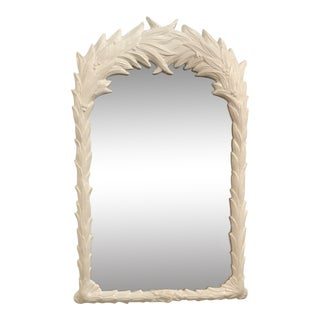 Vintage Serge Roche Style White Lacquered Palm Frond Wall Mirror For Sale