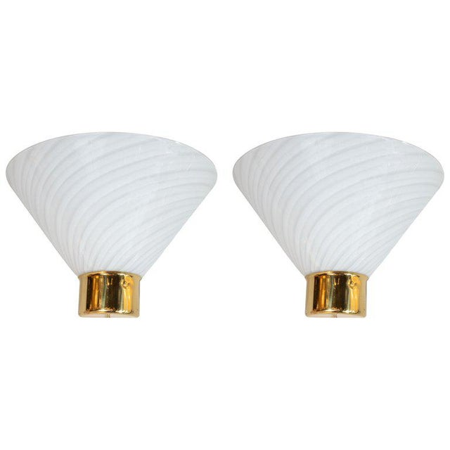 Gold Mid-Century Handblown Striated Murano Glass and Brass Sconces by Fabbian - a Pair For Sale - Image 8 of 8