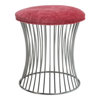 Vintage Mid-Century Stool After Warren Platner Knolll Nickel Plated Steel For Sale