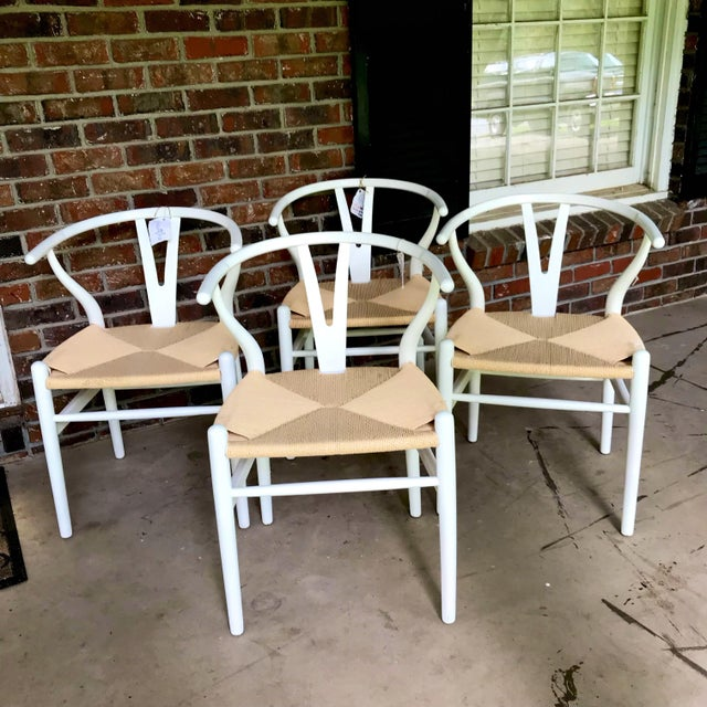 1970s Vintage White Wishbone Chairs - Set of 4 For Sale - Image 12 of 12