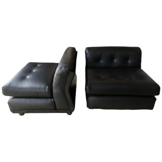 1970s Vintage Black Leather Mario Bellini B&b Chairs- A Pair For Sale