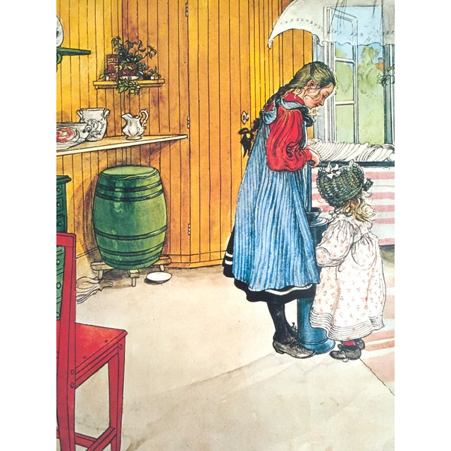 """Carl Larsson Vintage 1972 Original Swedish Lithograph Print Poster """" Koket the Kitchen """" 1898 For Sale In New York - Image 6 of 12"""